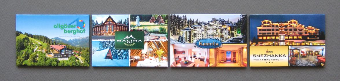 Rectangular promotional magnets of different hotels
