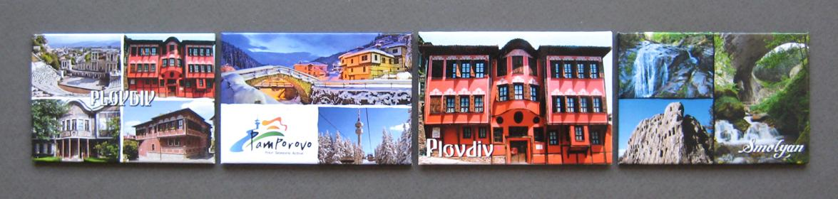 Rectangular fridge magnets of different tourist sites